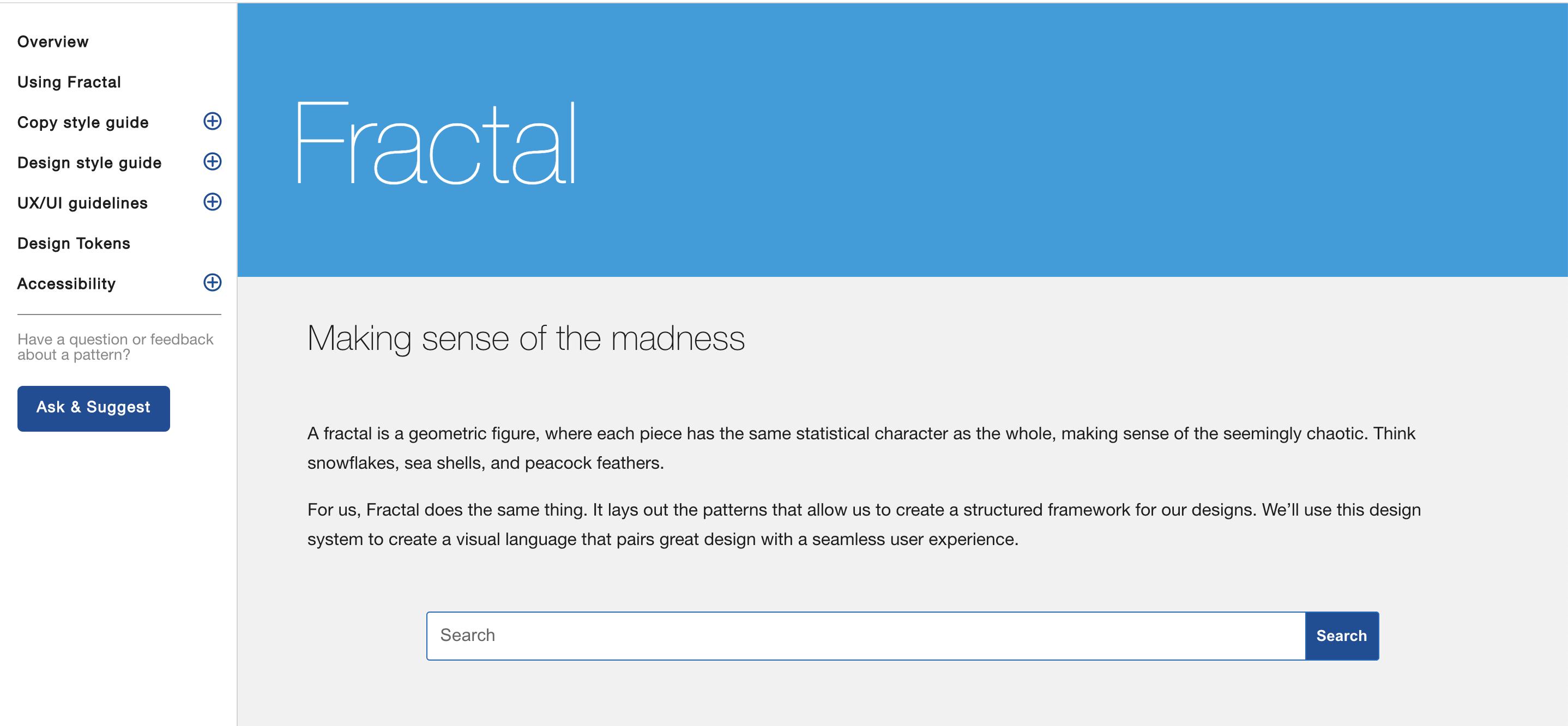Screen shot of site